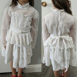 Vtg 50s Tiered White Lace Dress